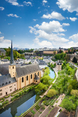 Wall Mural - City view of Luxembourg with houses on Alzette