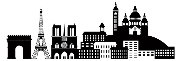 Paris City Skyline Silhouette Black and White Illustration