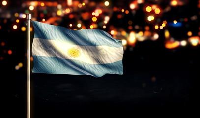 Argentina National Flag City Light Night Bokeh Background 3D