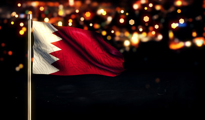 Bahrain National Flag City Light Night Bokeh Background 3D
