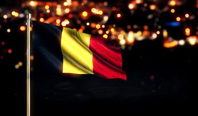 Belgium National Flag City Light Night Bokeh Background 3D
