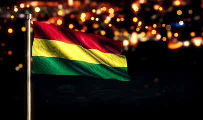 Bolivia National Flag City Light Night Bokeh Background 3D