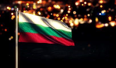 Bulgaria National Flag City Light Night Bokeh Background 3D
