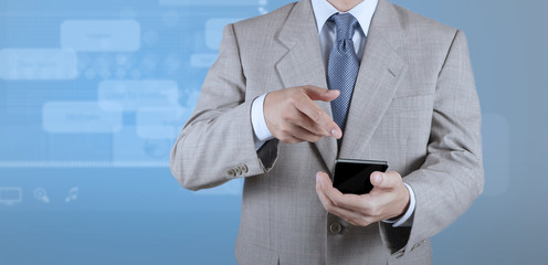 businessman with mobile phone on webinar screen background