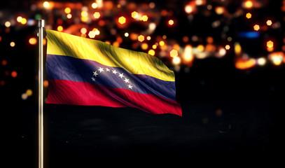 Venezuela National Flag City Light Night Bokeh Background 3D