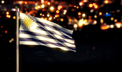 Uruguay National Flag City Light Night Bokeh Background 3D