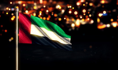 United Arab Emirates National Flag City Light Night Bokeh 3D