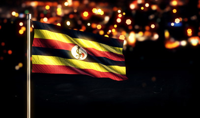 Uganda National Flag City Light Night Bokeh Background 3D
