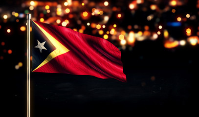 Timor Leste National Flag City Light Night Bokeh Background 3D