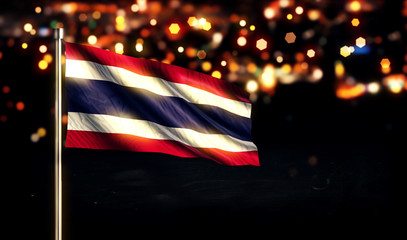 Thailand National Flag City Light Night Bokeh Background 3D