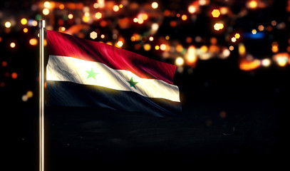 Syria National Flag City Light Night Bokeh Background 3D