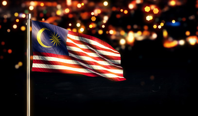 Malaysia National Flag City Light Night Bokeh Background 3D