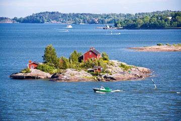 Tuinposter Scandinavië House on island in Baltic sea