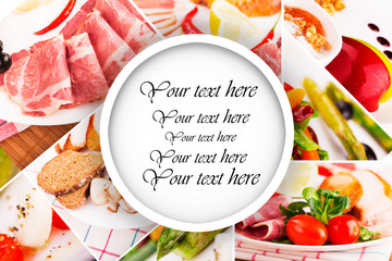 Food collage with place for text in the center