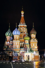Wall Murals Moscow St. Basil Cathedral, Moscow Kremlin, night