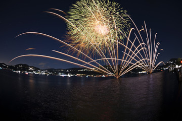 Fireworks on the lakefront of Ranco, Italy