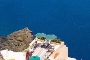 beautiful balcony with sea view on Santorini island