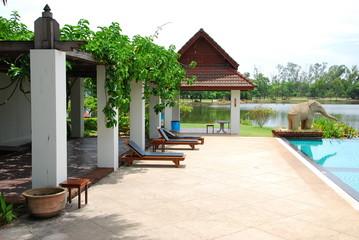 outdoor design park near swimming pool