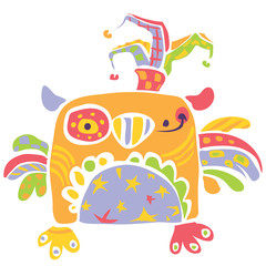 Colorful happy cute little owl design in kids drawing style