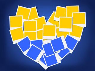 An illustration of the flag of Ukraine, heart-shaped