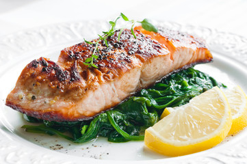 Poster Fish Salmon with Spinach