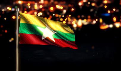 Myanmar National Flag City Light Night Bokeh Background 3D