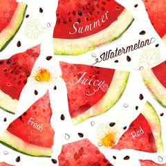 Watermelon vector seamles watercolor pattern, juicy piece