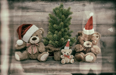 christmas decoration with antique toys teddy bear family