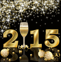Happy 2015 New Year with champagne, vector illustration