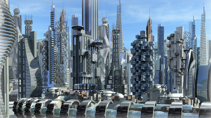 Fantasy city with metallic structures for futuristic backgrounds