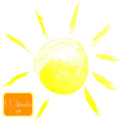 Watercolor sun on a white background
