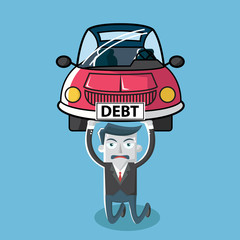 businessman carrying debt car