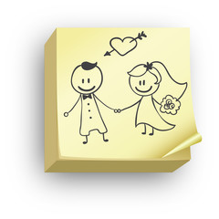post it mariage - Dessin Mariage