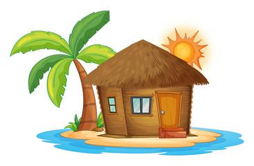 A small nipa hut in the island