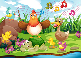 Animals singing at the riverbank