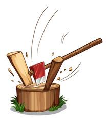 Chopping log