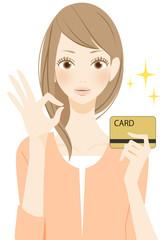 OKを表示する カードを持つ女性