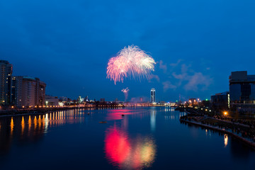 Fireworks over night city - Yekaterinburg, Russia