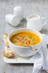 Vegetarian pumpkin soup with coconut milk