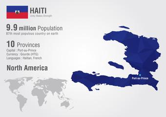 Wall Mural - Haiti world map with a pixel diamond texture.