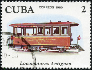 Stamp shows antique Chaparra Sugar locomotive