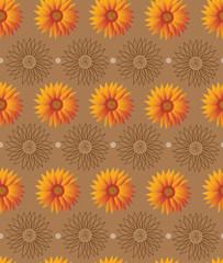 Sunflower pattern on brown background