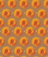 Seamless sunflower pattern on brown background