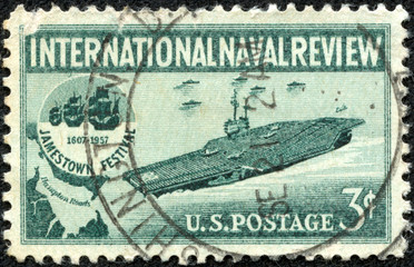 stamp printed in the USA shows Aircraft Carrier