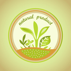 natural product emblem with green leaves