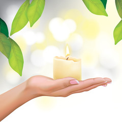 Vector Beautiful Woman Hand Holding Candle Illustration