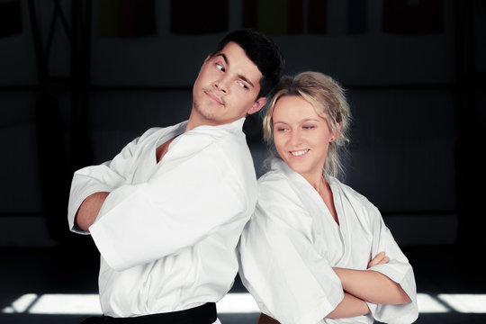 Karate Couple Wearing Kimonos Standing Together