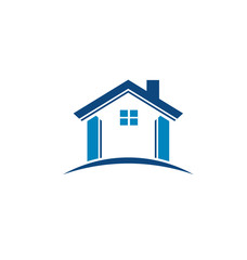 Blue house image. Vector icon