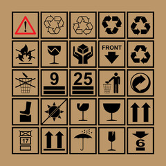 Handling & packing icon set  - used on the boxes & packaging