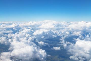 Spoed Fotobehang Hemel above view of white clouds in blue sky